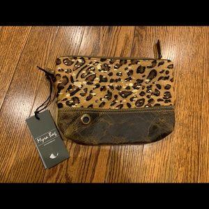 Myra Bag leopard cowhide leather wristlet